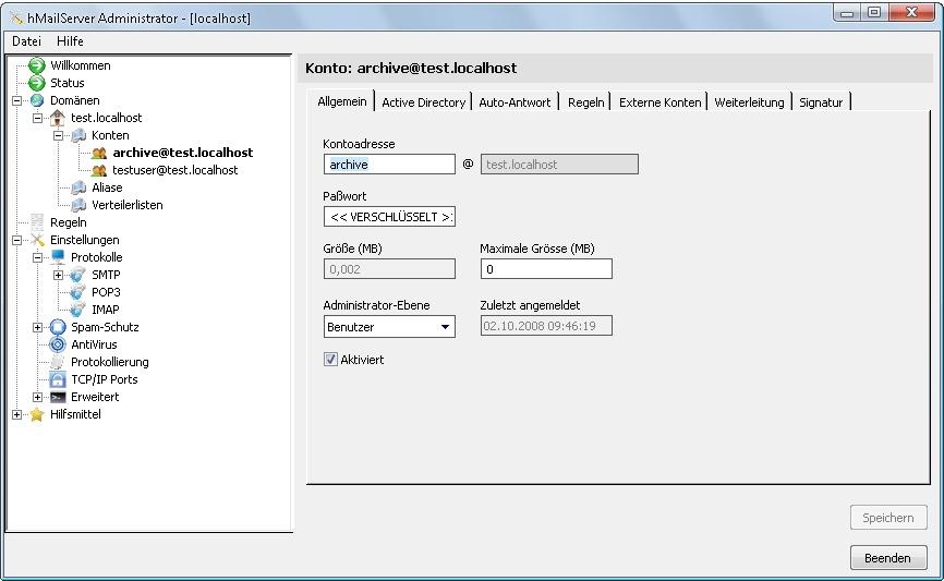 Konfigurationsfenster hMailServer