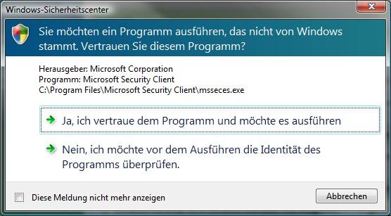 Microsoft Programmwarnung