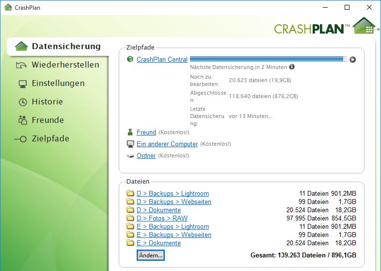 Sicherungskonfiguration in CrashPlan während des Umzugs