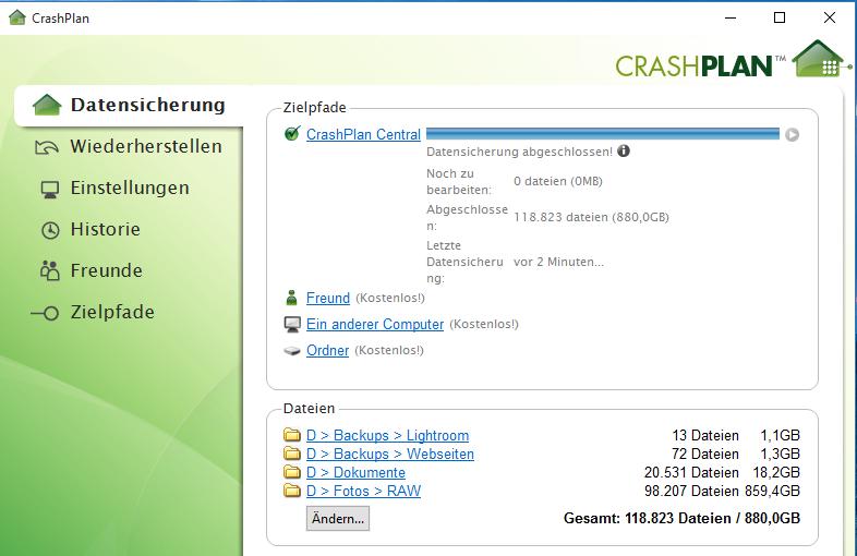 Sicherungskonfiguration in CrashPlan vor dem Umbau