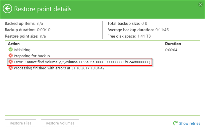 Veeam-Fehler nach dem Windows 10 Update